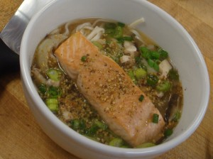 Miso bowl with Udon Noodles and Wild Salmon